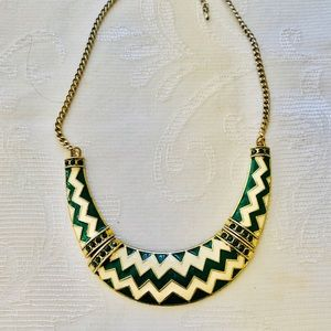 Anthropology Green geometric boho chic necklace